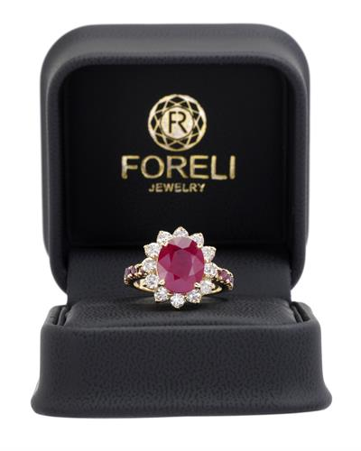 Brand New Ring with 7.2ctw of Precious Stones - diamond, ruby, and ruby 14K Yellow gold