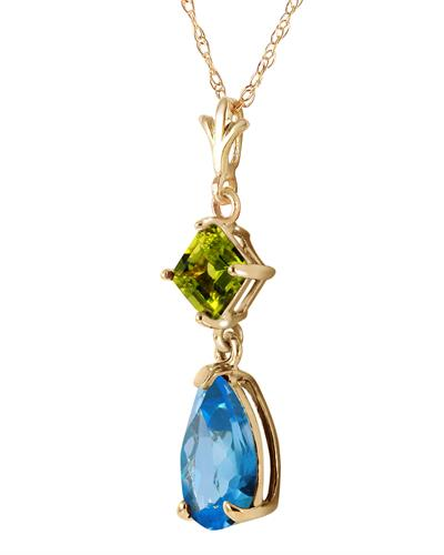 Magnolia Brand New Necklace with 2ctw of Precious Stones - peridot and topaz 14K Yellow gold