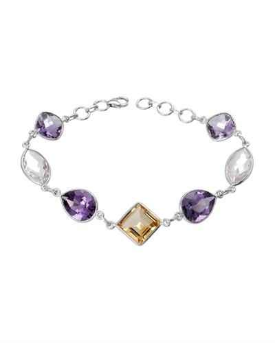 Brand New Bracelet with 24.6ctw of Precious Stones - amethyst, citrine, and quartz 925 Silver sterling silver