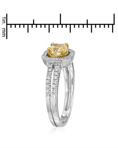 Brand New Ring with 0.91ctw of Precious Stones - diamond and diamond 18K Two tone gold