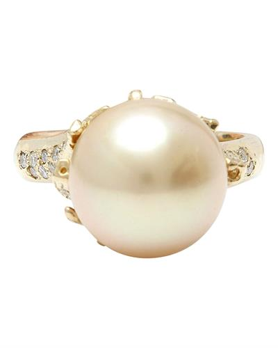 12.45 mm White South Sea Pearl 14K Solid Yellow Gold Diamond Ring