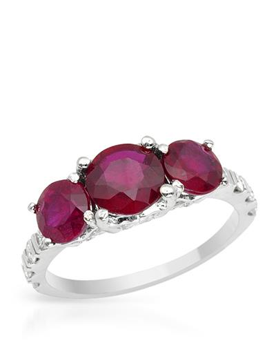 Brand New Ring with 5.4ctw of Precious Stones - diamond and ruby 14K White gold