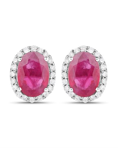 Brand New Earring with 2.06ctw of Precious Stones - diamond and ruby 14K White gold
