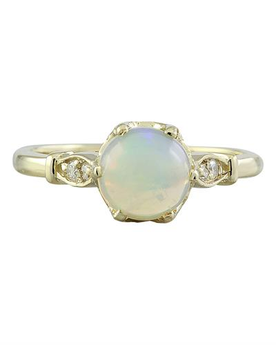 Brand New Ring with 1.08ctw of Precious Stones - diamond and opal 14K Yellow gold