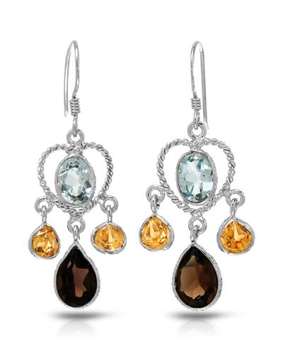 Brand New Earring with 8.35ctw of Precious Stones - citrine, topaz, and topaz 925 Silver sterling silver