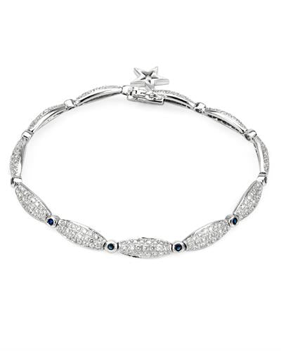 Brand New Bracelet with 2.87ctw of Precious Stones - diamond and sapphire 14K White gold