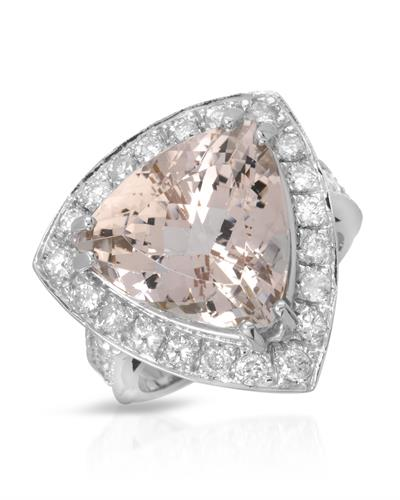 Brand New Ring with 9.69ctw of Precious Stones - diamond and morganite 14K White gold