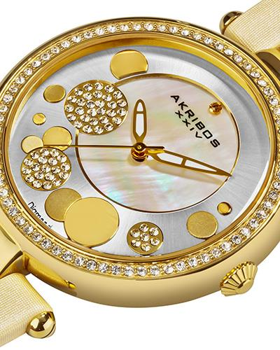 Akribos XXIV AK434WT Brand New Swiss Movement Watch with 0.01ctw of Precious Stones - crystal, diamond, and mother of pearl