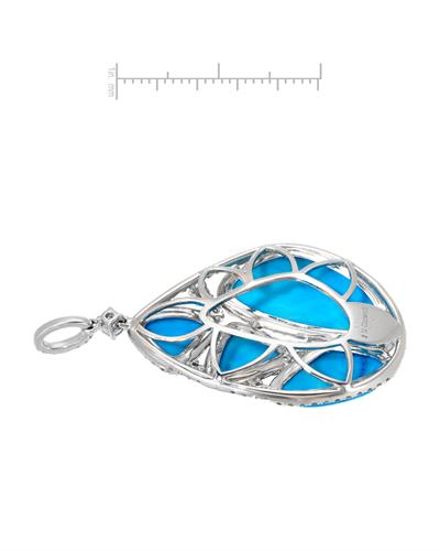 Michael Christoff Brand New Pendant with 1.38ctw of Precious Stones - diamond and turquoise 14K White gold