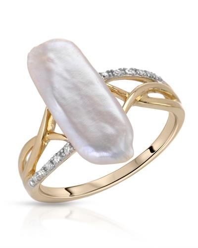 Brand New Ring with 0.05ctw of Precious Stones - diamond and pearl 14K Yellow gold