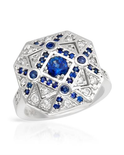 Brand New Ring with 1.5ctw of Precious Stones - diamond and sapphire 14K White gold