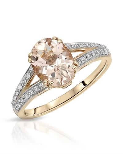 Magnolia Brand New Ring with 1.83ctw of Precious Stones - diamond, morganite, and tourmaline 10K Rose gold