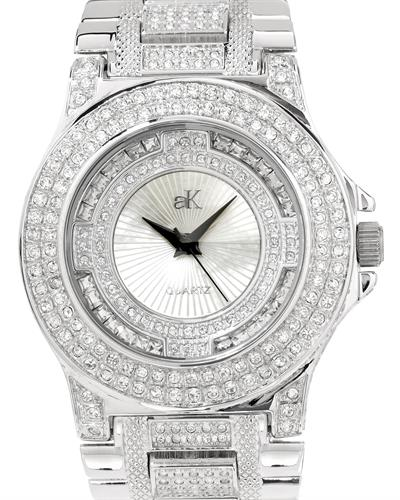 Adee Kaye AK9-28M/CR Brand New Japan Quartz Watch with 0ctw of Precious Stones - crystal and mother of pearl