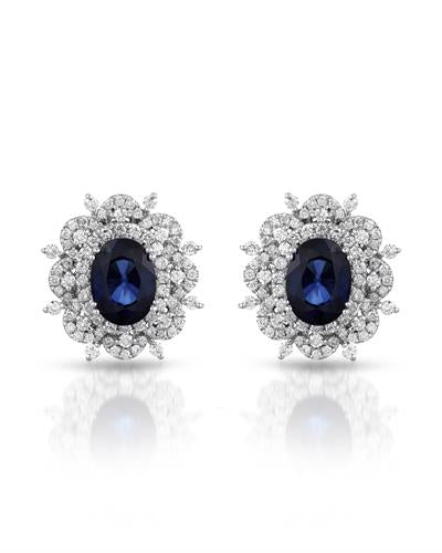 Julius Rappoport Brand New Earring with 3.94ctw of Precious Stones - diamond and sapphire 18K White gold