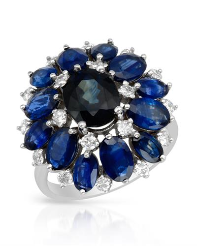 Brand New Ring with 7.5ctw of Precious Stones - diamond, sapphire, and sapphire 14K White gold