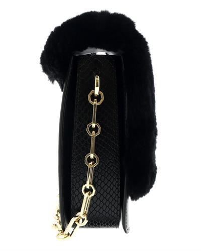 Roberto Cavalli HXLPG9 999 Brand New Handbag  Black Genuine Calf Leather and  Black Rabbit Fur