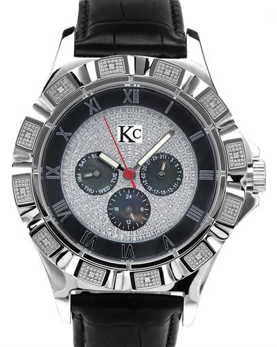 KC WA007915 Brand New Quartz day date Watch with 0.06ctw of Precious Stones - diamond and mother of pearl