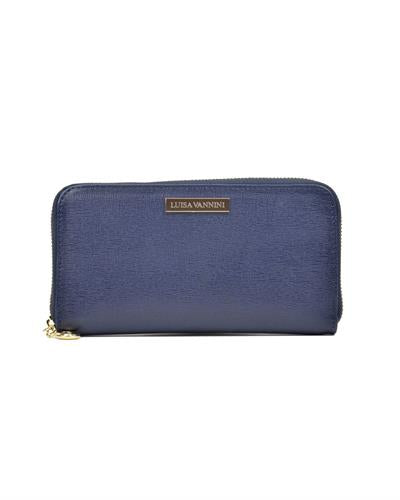 Luisa Vannini SS19 LV 474 Brand New Wallet  Blue leather