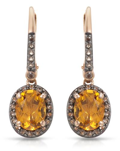 Brand New Earring with 2.7ctw of Precious Stones - citrine and quartz 10K Rose gold