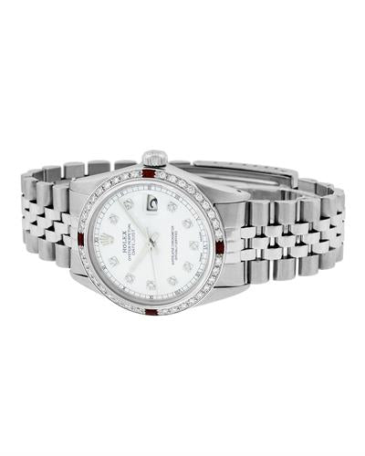Rolex PreOwned Automatic (Self Winding) date Watch with 1.2ctw of Precious Stones - diamond and ruby