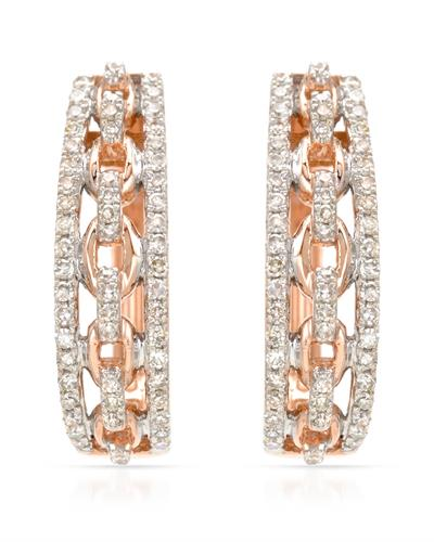 Brand New Earring with 0.32ctw diamond 14K Rose gold