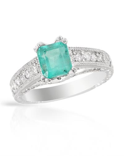 Brand New Ring with 2.41ctw of Precious Stones - diamond and emerald 14K White gold