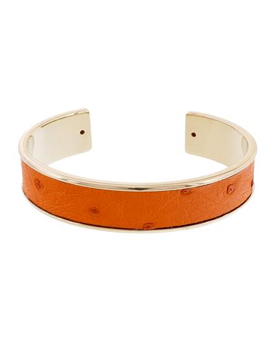 Stamerra MEMAN STRUZZO NAR Brand New Bracelet  Gold brass and  Orange Genuine Ostrich Leather