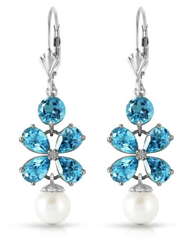 Magnolia Brand New Earring with 4ctw of Precious Stones - pearl and topaz 14K White gold