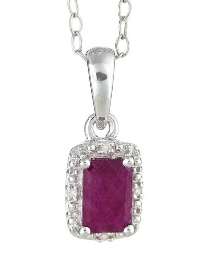 Brand New Necklace with 0.66ctw of Precious Stones - diamond and ruby 925 Silver sterling silver