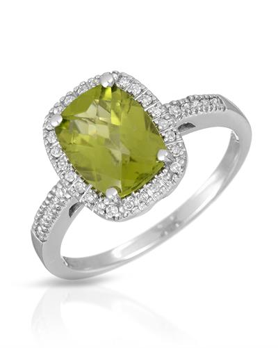 Magnolia Brand New Ring with 2.2ctw of Precious Stones - diamond and peridot 10K White gold