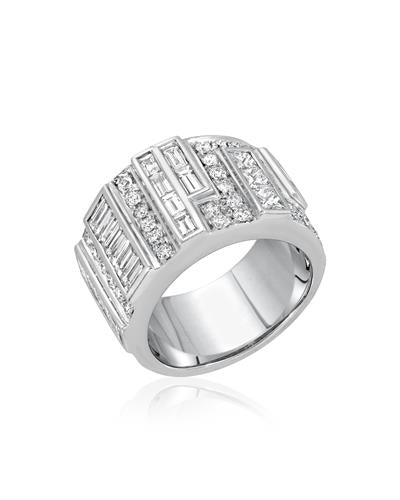 Julius Rappoport Brand New Ring with 3.27ctw diamond 18K White gold