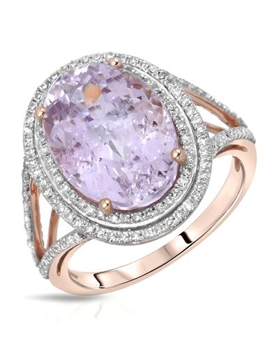Julius Rappoport Brand New Ring with 8.38ctw of Precious Stones - diamond and kunzite 14K Rose gold