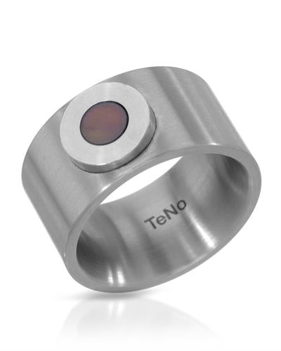 TeNo Brand New Ring with 0ctw mother of pearl  Metallic Stainless steel