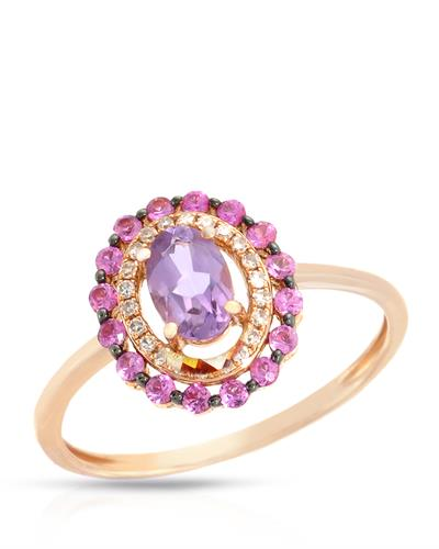 Brand New Ring with 0.7ctw of Precious Stones - amethyst, diamond, and sapphire 14K Rose gold
