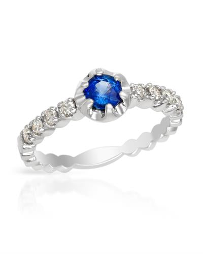Brand New Ring with 0.8ctw of Precious Stones - diamond and sapphire 14K White gold