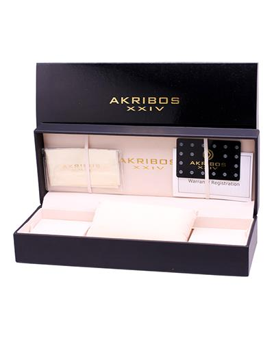 Akribos XXIV AK439BK Brand New Quartz date Watch with 0.06ctw of Precious Stones - diamond and mother of pearl