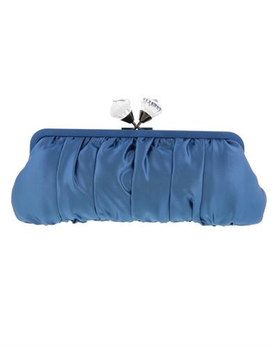 Scheilan Brand New Clutch with 0ctw crystal  Blue Fabric