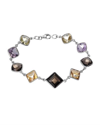 Brand New Bracelet with 27.58ctw of Precious Stones - amethyst, citrine, and quartz 925 Silver sterling silver