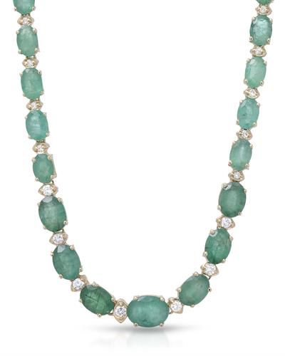 Lundstrom Brand New Necklace with 31.5ctw of Precious Stones - diamond and emerald 14K Yellow gold