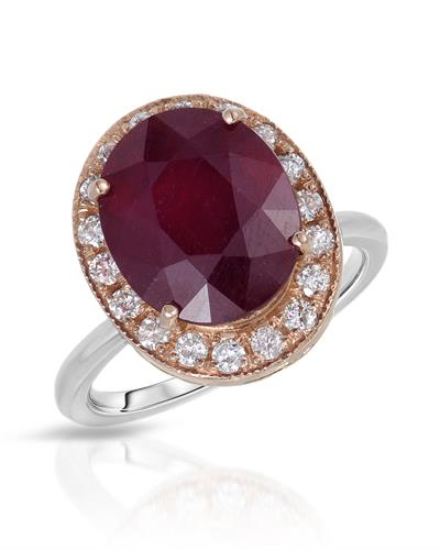 Lundstrom Brand New Ring with 8.61ctw of Precious Stones - diamond and ruby 14K Two tone gold