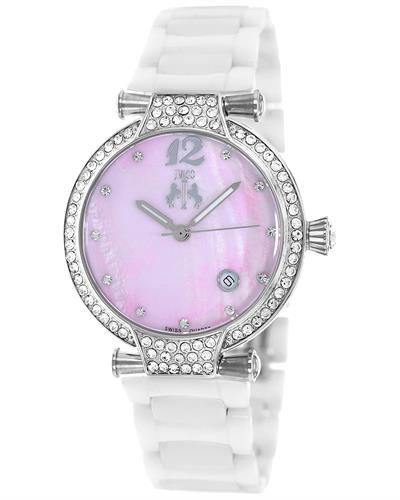 Jivago JV2214 Bijoux Brand New Quartz date Watch with 0ctw of Precious Stones - crystal and mother of pearl
