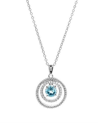 Brand New Necklace with 1.15ctw of Precious Stones - topaz and topaz 925 White sterling silver