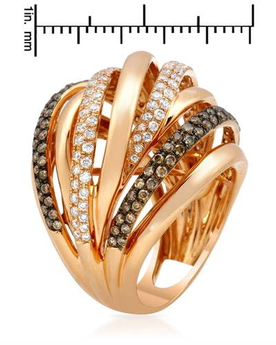 Brand New Ring with 1.57ctw of Precious Stones - diamond and diamond 18K Rose gold