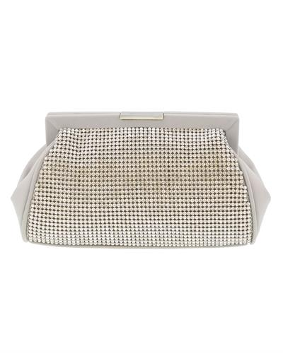 Scheilan Brand New Clutch with 0ctw crystal  Beige Fabric