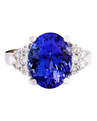 Brand New Ring with 8.4ctw of Precious Stones - diamond and tanzanite 14K White gold