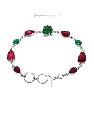 Brand New Bracelet with 20ctw of Precious Stones - emerald and ruby 925 Silver sterling silver