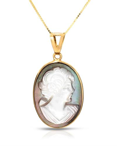 Aucella Brand New Necklace with 0ctw cameo 14K Yellow gold