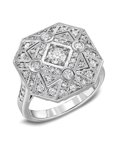 Brand New Ring with 0.85ctw of Precious Stones - diamond and diamond 14K White gold