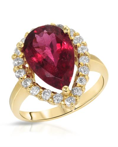 Brand New Ring with 5.19ctw of Precious Stones - diamond and Rubellite 14K Yellow gold