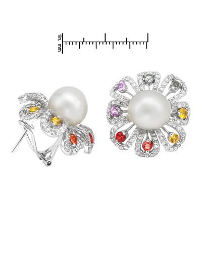 Brand New Earring with 5.14ctw of Precious Stones - diamond, pearl, and sapphire 14K White gold